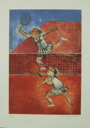 Litografía Boulanger - TWO GIRLS PLAYING TENNIS