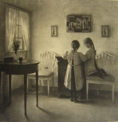 Manera Negra Ilsted - Two little girls playing.