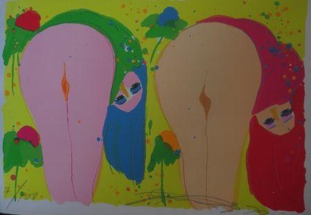 Litografía Ting - Two Nudes