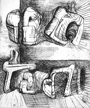 Aguafuerte Moore - Two reclining figure