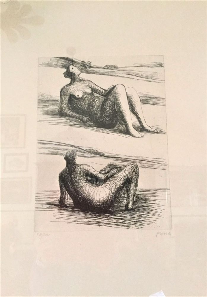 Aguafuerte Moore - Two reclining figures