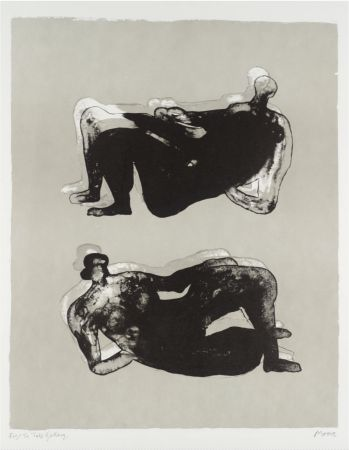 Litografía Moore - Two Reclining Figures