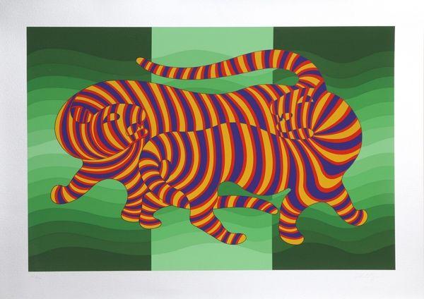 Serigrafía Vasarely - Two Tigers on Green