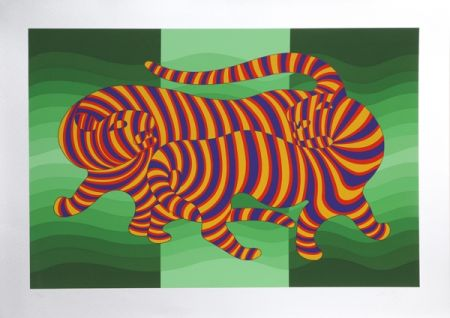 Serigrafía Vasarely - Two Tigers on Green