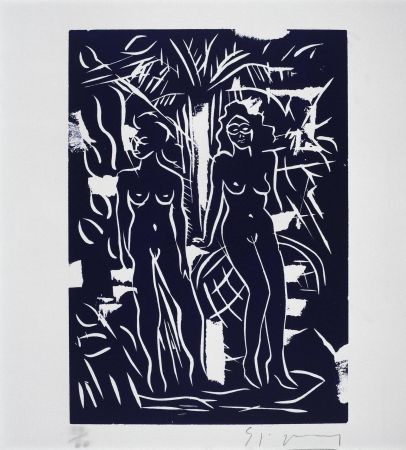 Linograbado Szczesny - Two Women in Blue
