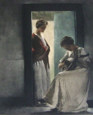 Manera Negra Ilsted - Two Young Women In A Doorway