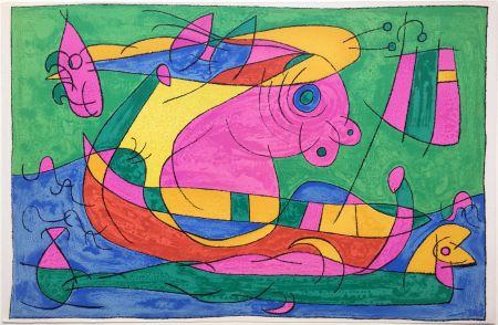 Litografía Miró - UBU ROI : LE VOYAGE DE RETOUR (1966).