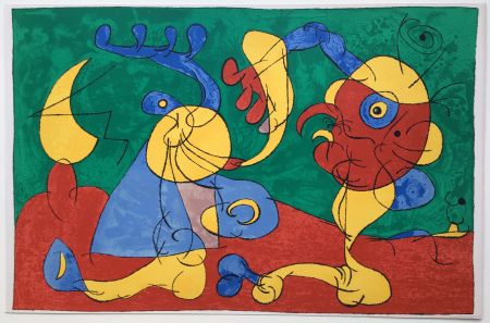 Litografía Miró - UBU ROI : LES NOBLES A LA NAPPE (1966).