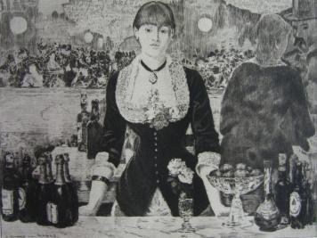 Grabado Guerard - Un bar aux Folies-Bergère