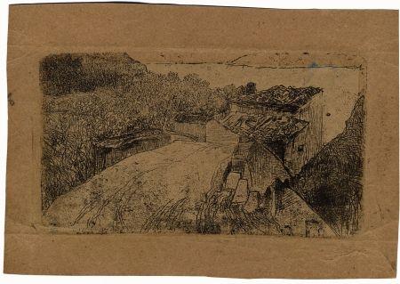 Grabado Fattori - UN PONTE SULL'AFFRICO (A Bridge on the Affrico Torrent)