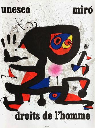 Cartel Miró - UNESCO - DROITS DE L'HOMME -MIRO. Affiche originale de 1974.