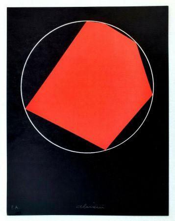 Litografía Alviani - Unoduetrequattrocinquesei poligono inscritto nel cerchio