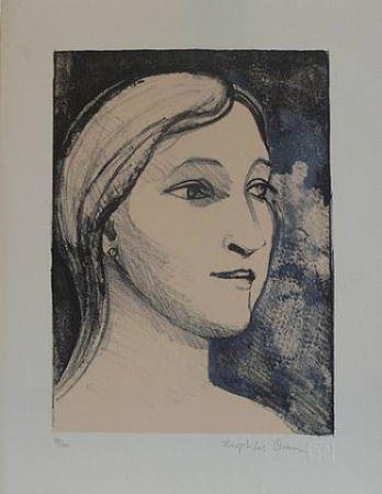 Litografía Brown - Untitled-(Portrait)