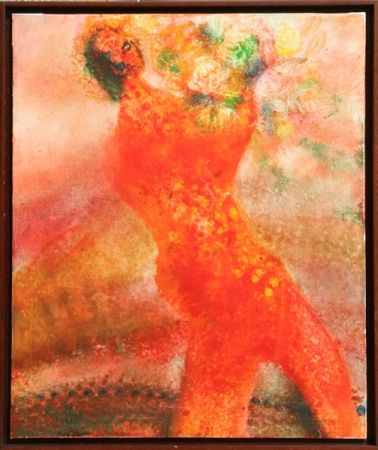 Litografía Ripolles - Untitled - Figure with Flowers