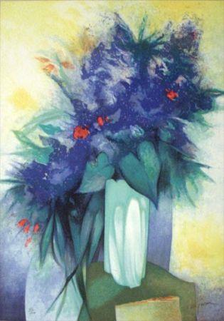 Litografía Gaveau - Untitled (Blue Flowers)