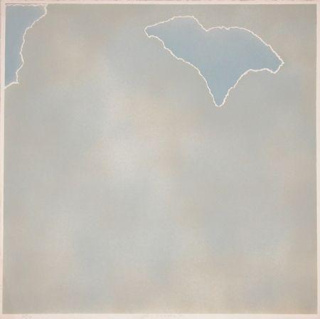 Litografía Goode - Untitled (blue paper clouds)
