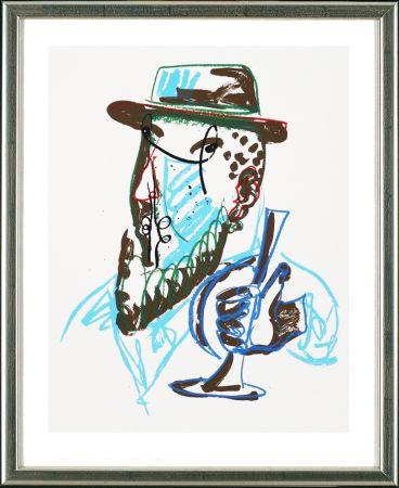 Serigrafía Lüpertz - Untitled, Mann mit blauer Trompeter