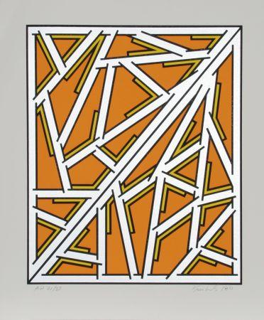 Serigrafía Krushenick - Untitled (Orange One Variant)