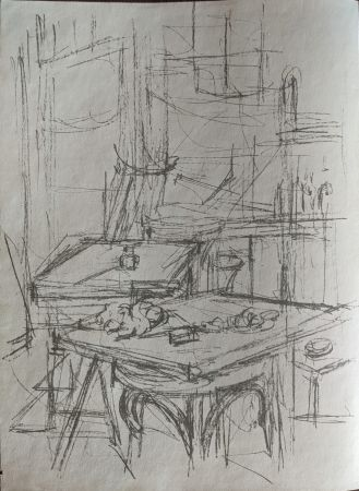 Litografía Giacometti - Untitled (tables in studio)