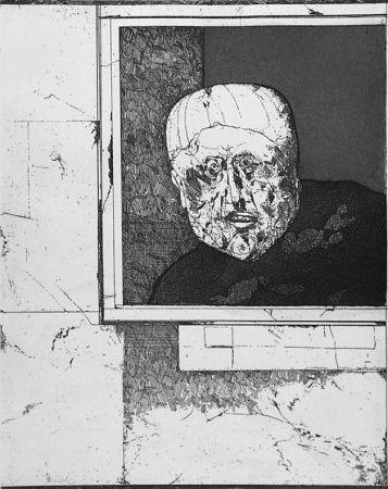 Aguafuerte Plattner - Uomo alla finestra