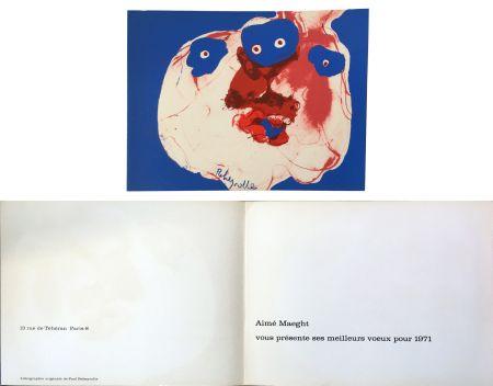 Litografía Rebeyrolle - Vœux d'Aimé Maeght pour 1971 : LITHOGRAPHIE ORIGINALE DE REBEYROLLE
