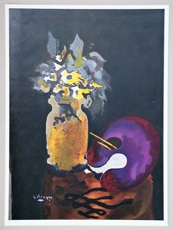 Litografía Braque (After) - Vase de fleurs jaunes