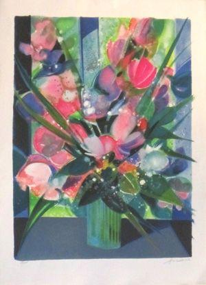 Litografía Hilaire - Vase de tulipes