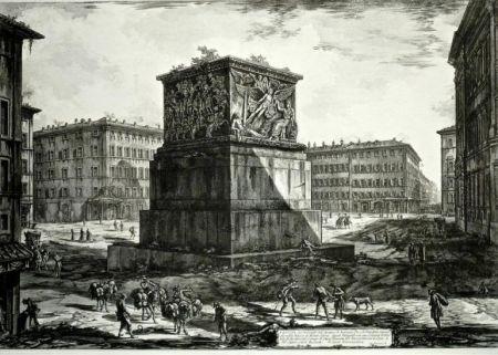 Grabado Piranesi - Veduta del Piedestallo dell'Aposteosi, from