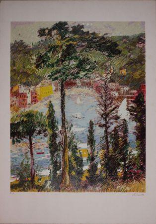 Litografía Cascella - Veduta di Portofino