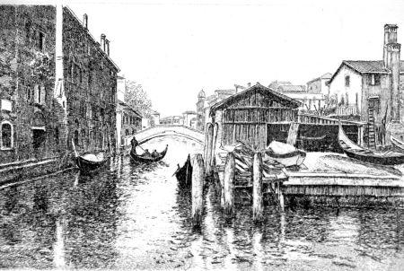 Aguafuerte Cotugno  - Venezia, squero di San Trovaso