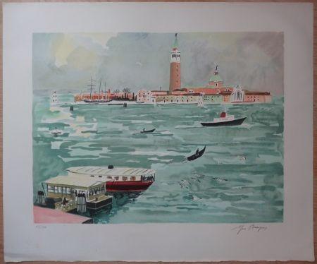 Litografía Brayer - Venise vue de la mer