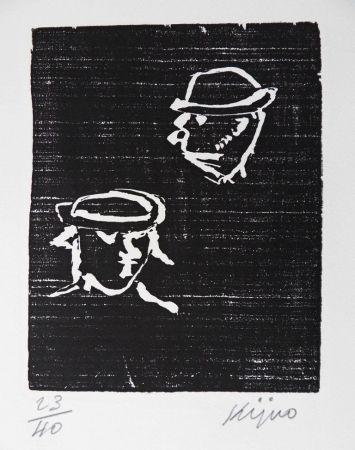 Grabado En Madera Kijno - Verlaine et Rimbaud