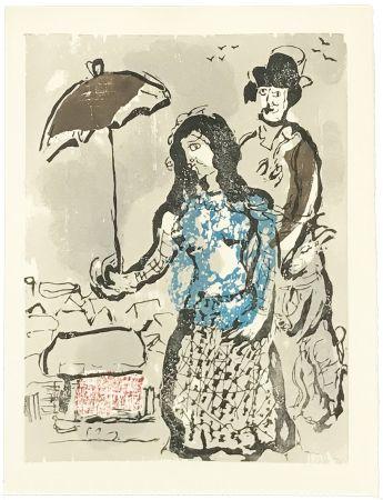 Grabado En Madera Chagall - VERS LA RIVE (