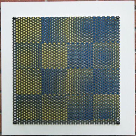 Grabado En Madera Asis - Vibration 16 carres bleu et jaune