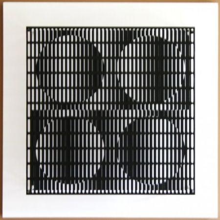 Grabado En Madera Asis - Vibration 4 cercles noir et blanc