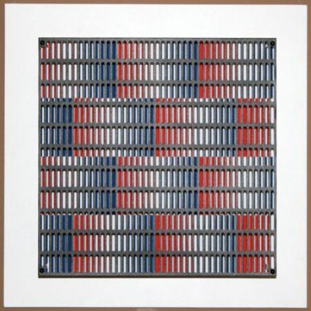 Grabado En Madera Asis - Vibration bandes bleus et rouges