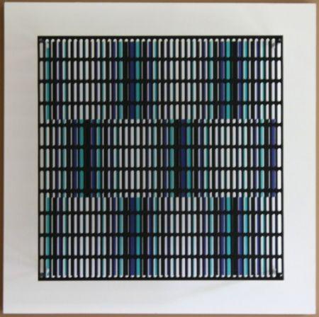 Grabado En Madera Asis - Vibration bandes noir, bleu et turquoise