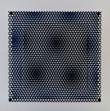 Grabado En Madera Asis - Vibration carré noir et bleu