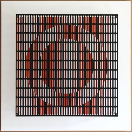 Grabado En Madera Asis - Vibration cercles noir, orange et rouge