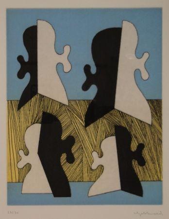 Grabado Gebhard - Vier Köpfe