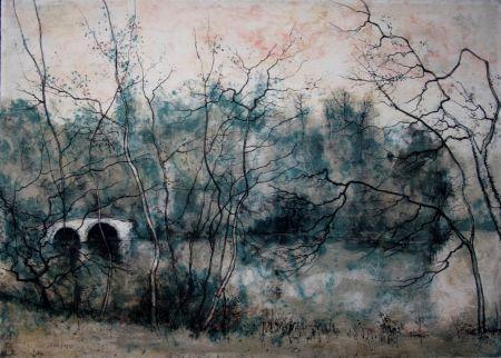 Litografía Gantner - Vieux pont sur la rivière
