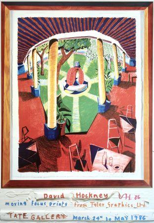 Litografía Hockney - 'Views of Hotel Well III' Hand Signed Exhibition Poster 1986