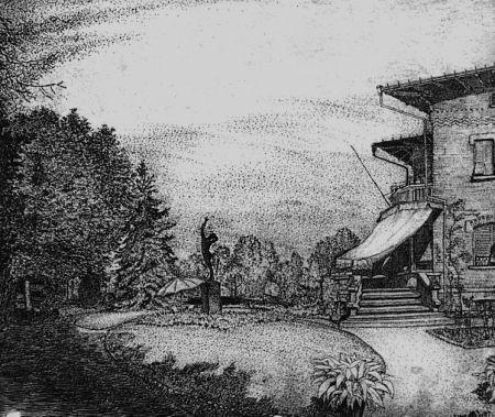 Aguafuerte Bozzetti - Villa Colonna. Il giardino