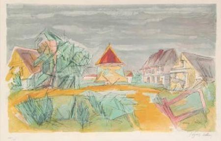 Litografía Villon - Village