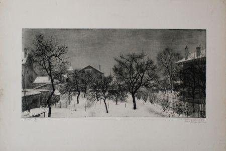 Aguafuerte Y Aguatinta Ciry - Village en hiver