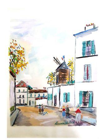 Litografía Utrillo - Village inspiré de Montmartre