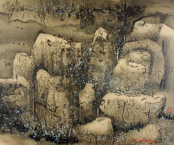 Litografía Wang - Villages in the Snow
