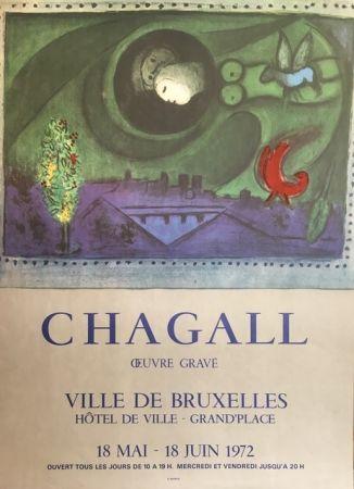 Litografía Chagall (After) - VILLE DE BRUXELLES