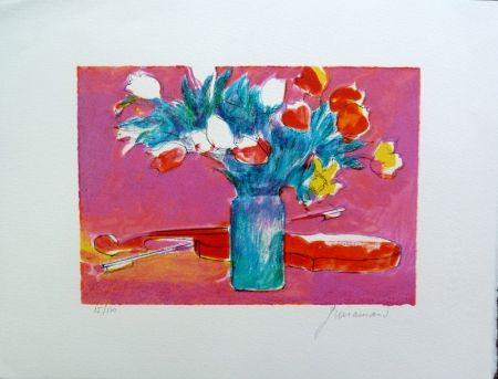 Litografía Guiramand - Violon et Bouquet