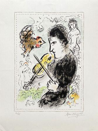 Litografía Chagall - Violoniste au coq
